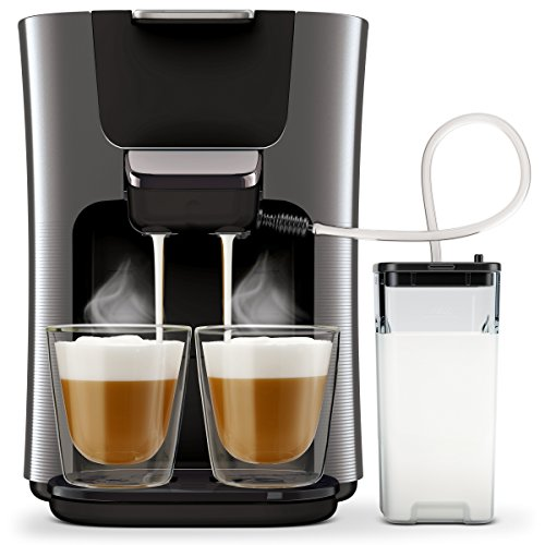 Philips Senseo HD6574/50 Latte Duo Kaffeepadmaschine (2 Kaffee, frische Milch) titanium