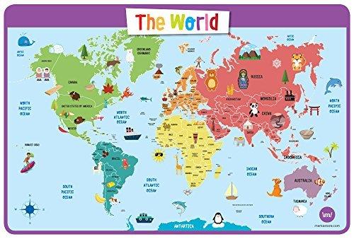 merka Lehrreich Platzsets für Kinder - Tischset, Abwaschbar Platzdeckchen für Zuhause (Weltkarte)
