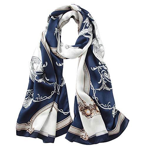 Seidenschal Damen 100% Seiden Satin Schal Elegante Seidentuch Hautfreundlich Anti-Allergie Halstuch 170 * 55cm (Blau und Weiß) MEHRWEG