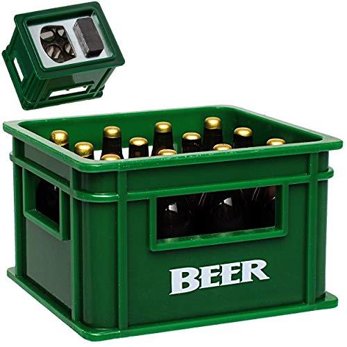 alles-meine.de GmbH Flaschenöffner & Magnet - Bierkasten grün - sehr stabil - Magnete z.B. für Kühlschrank - Kühlschrankmagnet / Magneten - Deko Dekofigur Bierflasche Bierkiste M..