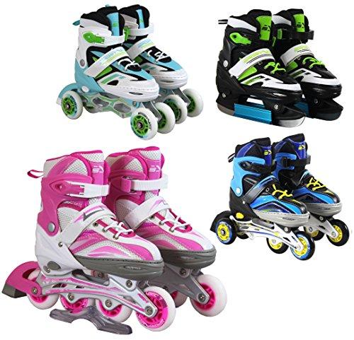 SportVida Inline Skates Kinder Erwachsene Inliner 4in1 | Verstellbare Schlittschuhe | Triskates Größenverstellbar ABEC7 Lager | Rollschuhe in Größen 31-42 | Pink Blau Grün Türkis (Pink, 35-38)