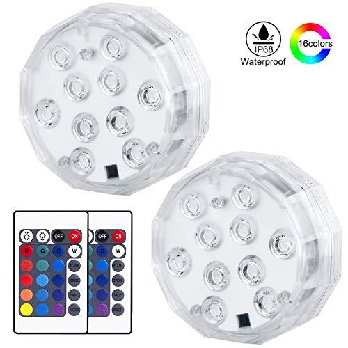 KINGWILL Unterwasser Licht 10-LED RGB 16 Farben Unterwasser Beleuchtung mit Fernbedienung für Whirlpool, Badewanne, Brunnen, Aquarium, Vase Base, 2 Stück