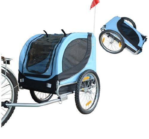 PawHut® Hundeanhänger Fahrradanhänger Hunde Fahrrad Anhänger Blau/Schwarz