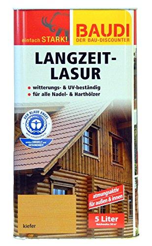 BAUDI Langzeit Holzlasur 5 Liter KIEFER Lasur UV-beständig