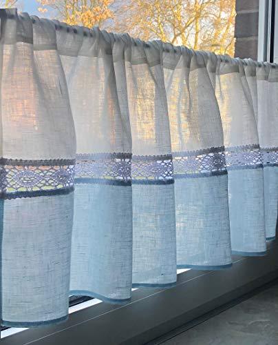 Bistrogardine Kurzgardine Gardine 100% Leinen mit Spitze Weiß Pastell Blau 140x45 cm Landhaus Shabby Retro Vorhang NEU+OVP Made in EU