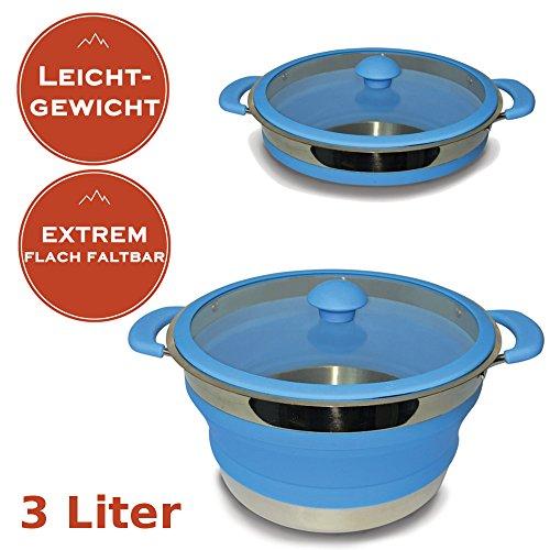 Faltbarer Leichtgewichtstopf 3 Liter - Camping Kochtopf aus Metall und Silikon - MINIMALES Packmaß + MINIMALES Gewicht - spülmaschinenfest