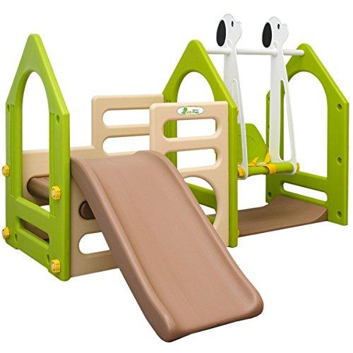 LittleTom Kinder Spielhaus mit Rutsche Schaukel 155x135cm Spiel-Turm Kletter-Haus Kunststoff Kinderspielhaus Braun-Beige-Grün