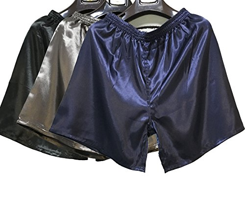 Wantschun Herren Satin Silk Unterwäsche Nachtwäsche Boxershorts Unterhosen Pyjama Bottom Shorts Pants Hose Blau+Grau+Schwarz EU L