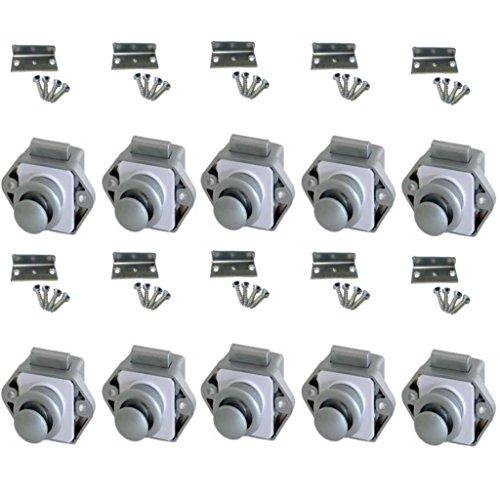 Freizeit Wittke Push Lock Schlösser - Mini - 26mm Rosette+Knopf - 10er Set - Silber