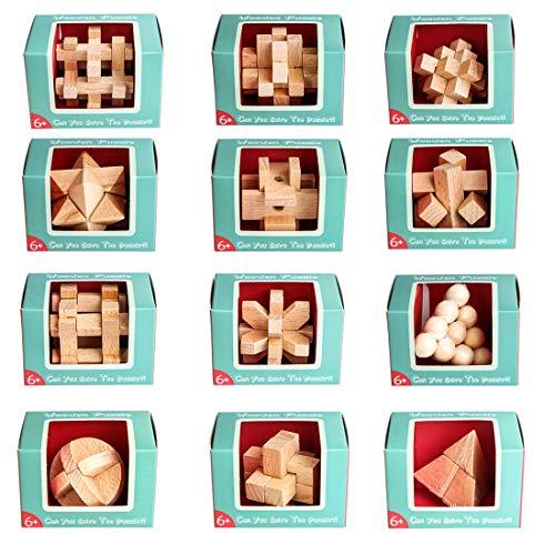 AMITAS 12 Stück Knobelspiele Set Adventskalender Knobelspiele Holz 3D Holzpuzzle Lehrreiches Spielzeug als Adventskalender Geburtstag Weihnachten für Jugendlich