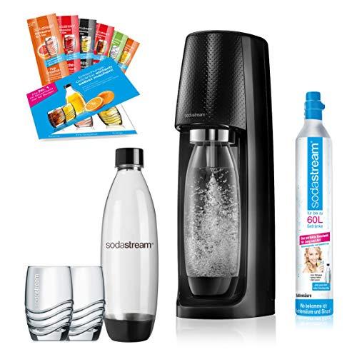SodaStream Easy Wassersprudler-Set PROMOPACK mit Co2 Zylinder, PET-Flasche, 2x Design-Trinkgläser und 6x Sirupproben - Trinkwassersprudler zum Sprudeln von Leitungswasser, ohne schleppen!