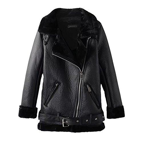 Newbestyle Jacke Damen Übergangsjacken V Ausschnitt Kleidung Mantel Fell Winterjacke Jacket Wintermantel Top Coat mit Schrägem Reißverschluss Schwarz Small