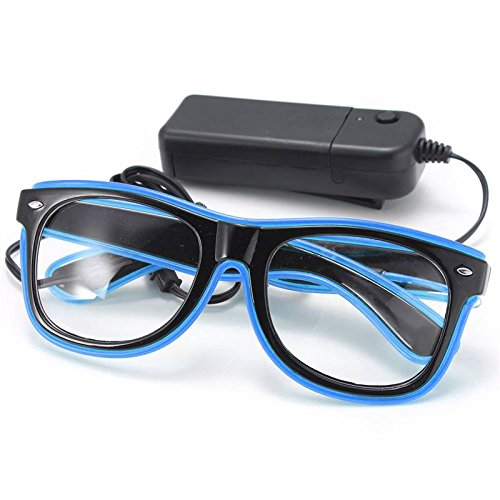 SOLMORE EL Wire Drahtbrille Leuchten Brille LED Leucht Sonnenbrille Partybrille mit Batterie Box Blau