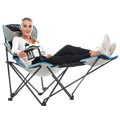 skandika Campingstuhl Relax Stabiler Faltstuhl mit Beinauflage und Getränkehalter, bis 130 kg belastbar
