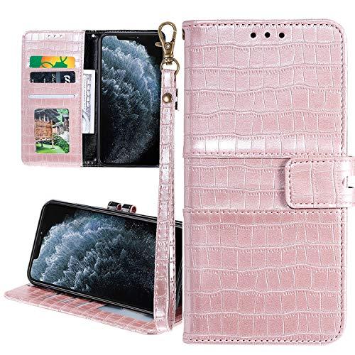 Nadoli Ledertasche für Samsung Galaxy S10e,Krokodil Muster Luxus Männer Frauen Pu Standfunktion Flip Handy Schutzhülle Brieftasche mit Kartenhalter und Handschlaufe,Rose Gold