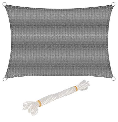 WOLTU Sonnensegel Rechteck 2x3m Grau atmungsaktiv Sonnenschutz HDPE Windschutz mit UV Schutz für Garten Terrasse Camping