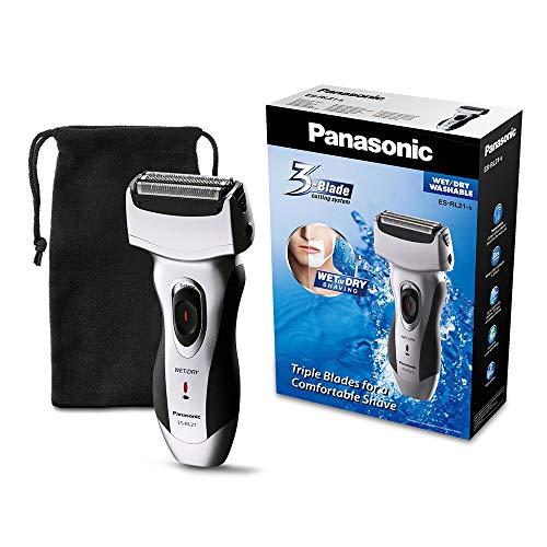 Panasonic Rasierapparat ES-RL21 mit schnellem 3-fach Scherkopf, elektrischer Rasierer für Herren, für die Nass- und Trockenrasur, bequem & zeitsparend