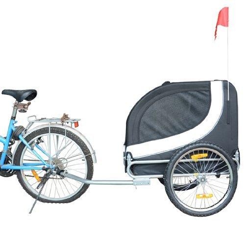 PawHut Hundeanhänger Fahrradanhänger Hundetransporter Hunde Fahrrad Anhänger Schwarz+Weiß