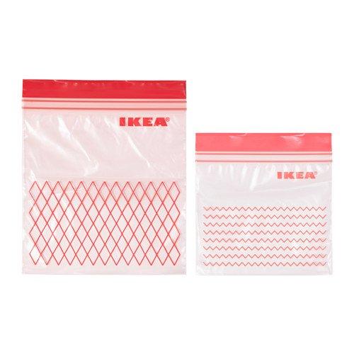 ISTAD – Kunststoffbeutel von Ikea, geeignet für Gefrierschrank, Rot, 30 Beutel 0,4l (15 x 15,5 cm) und 30 Beutel 1l (18 x 21,5 cm), insgesamt 60 Beutel