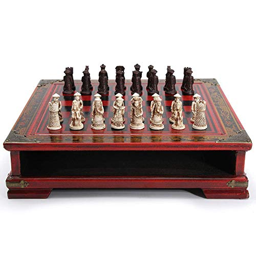 JYL 32 Teile/Satz Holztisch Schach Chinesische Schachspiele Harz Schach Mann Weihnachten Geburtstag Premium Geschenke Unterhaltung Brettspiel, für Erwachsene und Kinder