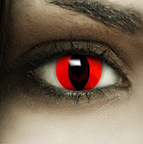 Farbige rote Kontaktlinsen Rote Katze + Kunstblut Kapseln + Behälter von FXCONTACTS®, weich, ohne Stärke als 2er Pack - perfekt zu Halloween, Karneval, Fasching oder Fasnacht
