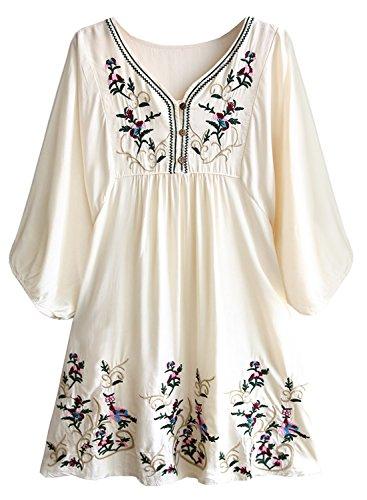 FUTURINO Damen Sommerkleid Bohemian Stickerei Floral Tunika Shift Bluse Flowy Minikleid, L, Beige 01
