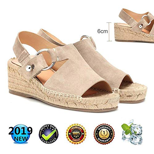 sandals Retro WedgesPeep Toe Women Buckle Ankle Strappy for Ladies Summer Fashion Flat Lace Up 6 cm High Heels Leather Slingback Platform Shoes Casual Comfy Espadrilles Beige