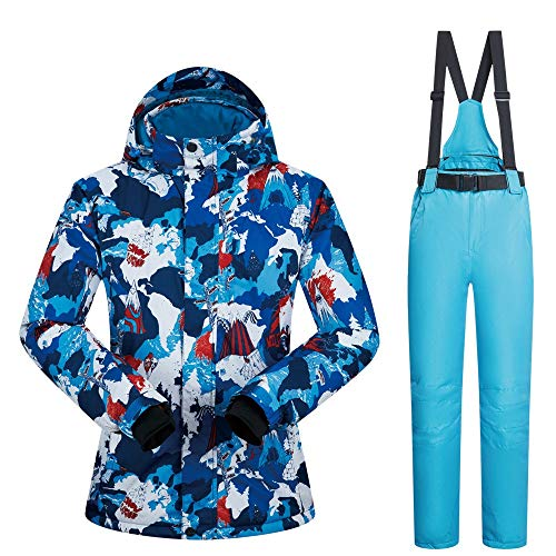 ChenYongPing Skijacke Bunte gedruckte Ski Jacket Pants Damen Ski Bib Suit Jacket Waterproof Snowboard Ideale Skikleidung (Farbe : Light Blue Pants, Größe : XL)