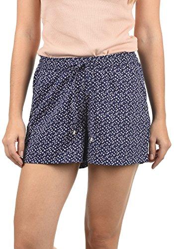 BlendShe Amal Damen Chino Shorts Bermuda Kurze Hose Mit Print Und Kordel Loose Fit, Größe:XS, Farbe:Peacoat Flower (20111)