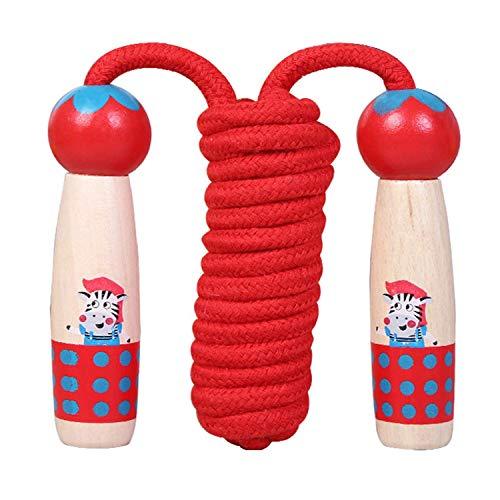 Sinwind Springseil für Kinder, Springenseil Kinder mit Cartoon Holzgriff, Verstellbare Kinder Springseil Speed Rope, für Jungen und Mädchen, Sport Training (Rot - Zebra)