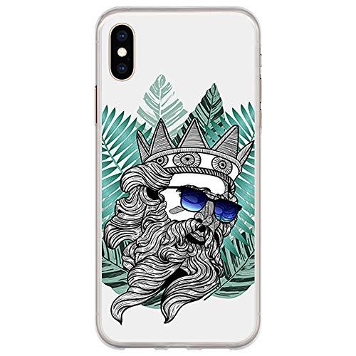 BJJ SHOP Transparente Hülle für [ iPhone XS Max ], Flexible Silikonhülle, Design: Poseidon mit Brille und Hipster Bart