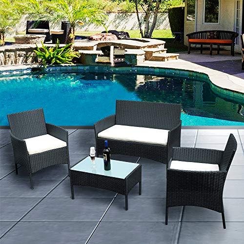 Lounge Set 4tlg in Rattanoptik mit Glastisch Cube Sofa Garnitur Sitzgruppe Gartenmöbel für Garten 3 Farbwahl - Schwarz
