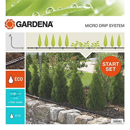 GARDENA Start Set Pflanzreihen M: Micro-Drip-Gartenbewässerungssystem zur schonenden, wassersparenden Bewässerung von Reihenpflanzungen (13011-20)