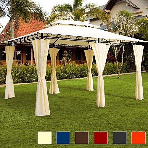 Deuba Pavillon Topas | 3x4m Seitenwände Eckig | Festzelt Partyzelt Gartenlaube Gartenzelt Gartenpavillon Beige