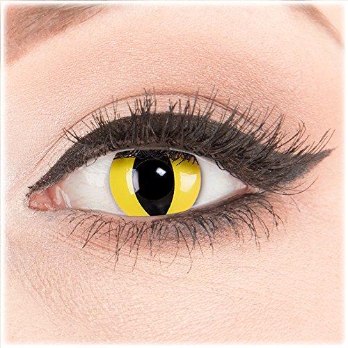 Farbige Kontaktlinsen zu Fasching Karneval Halloween 1 Paar weiße Crazy Fun 'CatEye' kontaktlinsen mit Behälter - Topqualität von 'Glamlens' mit Stärke -3,50