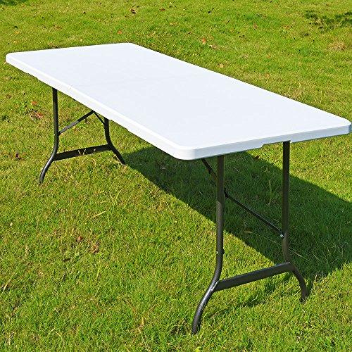 Casaria Gartentisch Klapptisch Klappbar 182 cm I Tragegriff I Kunststoff Weiß I Campingtisch Buffettisch Garten Camping