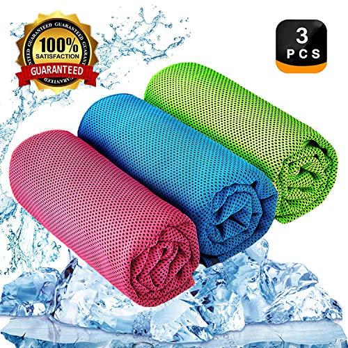 YQXCC Kühlendes Handtuch 3 Stück Reisetuch 120 x 30 cm Gym Mikrofasertuch für Männer oder Frauen Eiskalte Handtücher für Yoga Gym Reisen Camping Golf Fußball & Outdoor Sport (Hellblau/Rosarot/Grün)