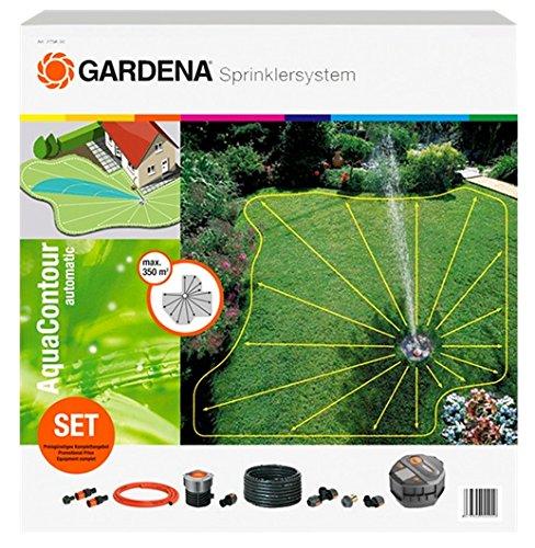 GARDENA Sprinklersystem Komplett-Set mit Vielflächen-Versenkregner AquaContour automatic: Bewässerungssystem für individuelle Gartenformen bis 350 m², 50 programmierbare Kontourpunkte (2708-20)