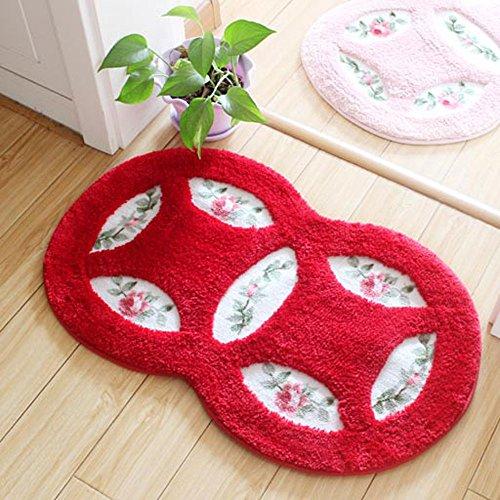 Roymaster Badezimmer Teppiche Badezimmer Matten Schlafzimmer Tür Matten Badezimmer Matten Saugunterlagen,45cm×75cm (Rot)