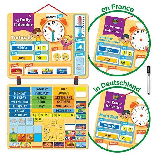 Learn & Climb Kinder Kalender Magnettafel mit 134 Lern-Magneten zur Befestigung an Wand oder Kühlschrank. Lehrreiche Aktivität für Grundschule oder Zuhause. . Kommt auf Deutsch!