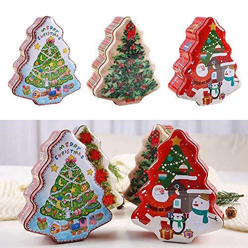 Miyaer 3pcs Weihnachten Kästen Candy Box,Snacks Süßigkeiten Geschenkideen Weihnachtsbaum Schatztruhe Aufbewahrungsbox Veranstalter