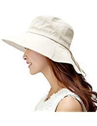 3b94ea9f643ef7 SIGGI Baumwolle beiger Sommerhut UPF 50 + Sun Shade Hut mit Nackenschnur  für Frauen breite Krempe