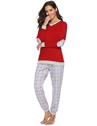 554b9353b3 Hawiton Damen Baumwolle Pyjama Schlafanzug Lang Zweiteilige Nachtwäsche  Hausanzug Sleepwear Langarm Rundhals Dunkelrot XL