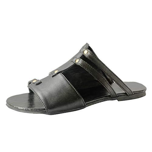 6e22f90975 Likecrazy Damen Hausschuhe Lederschuhe Römische Strand Schuhe Flats Open  Toe Slippers Outdoor Badeschuhe Pantoletten Zehentrenner Sommer