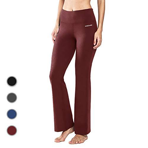 5d74272571ba55 Ogeenier Damen Baumwolle Bootcut Yogahose Flare Nylon Jogginghose Lang Hose  Sporthose mit Hoher Taille und Tasche