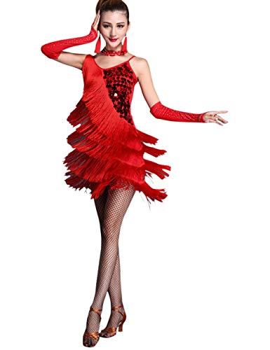 6b895758e49 besbomig Erwachsene Sexy Abendkleider Quaste Pailletten Salsa Tango Latein  Kleid - Damen Ballroom Cocktail Partykleider