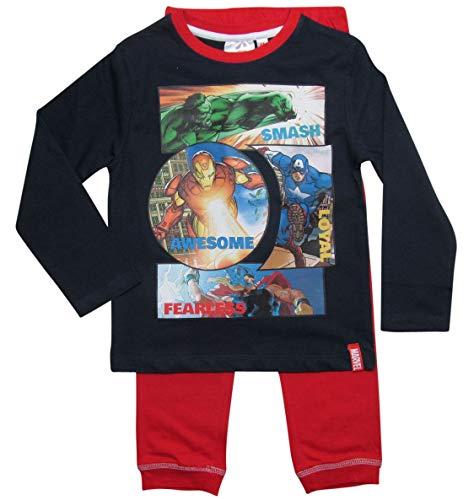 934e859a8b ... Ironman, Hulk, Captain America, Thor. Avengers Schlafanzug Jungen Marvel  Rundhalsausschnitt Pyjama (Blau-Rot, 116-122)