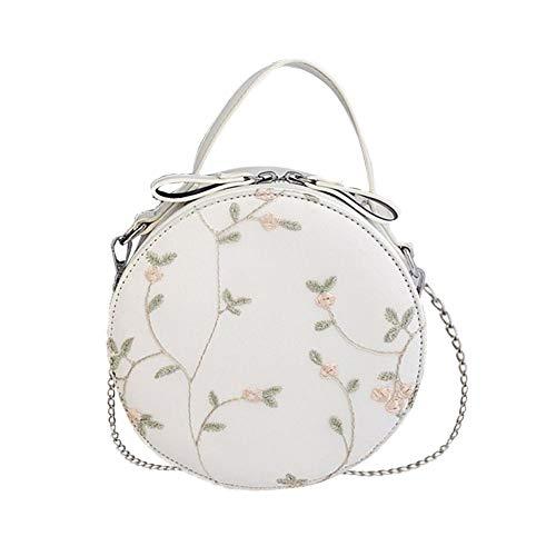 5f8bbf4dd7f01 Falliback Crossbody Tasche Spitze Stickerei Kleine Runde Pu Bag Kette Tasche  für Frau Nette Mini Handtasche