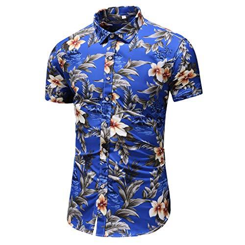 762cff1609 Poloshirts Herren Sommer Kurzarm Kontrast Polohemd Polo Shirts Printed  Button Regular Fit Hawaii Hemd Strand Knopf
