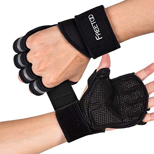 Rutschfest /& Atmungsaktiv f/ür Training Fitness Handschuhe /& Handgelenk Bandagen Set f/ür Damen /& Herren Aireez 2 in 1 Crossfit Schwarz//Rot-Schwarz